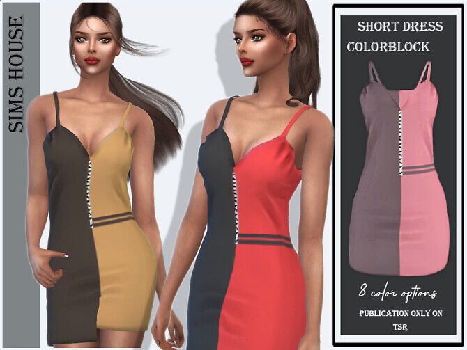 Sims 4 Short dress colorblock by Sims House at TSR