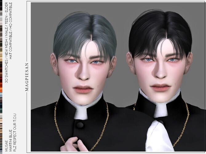 Sims 4 Martini Blue Hair by MUSAE magpiesan at TSR