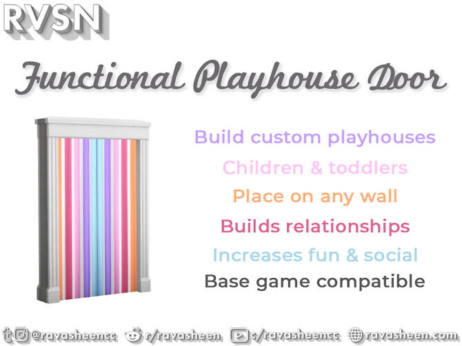 Sims 4 Functional Playhouse Door by RAVASHEEN at TSR
