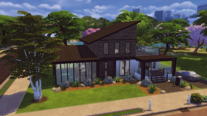 Sims 4 Modern Home with Indoor Pool by zhepomme at Mod The Sims