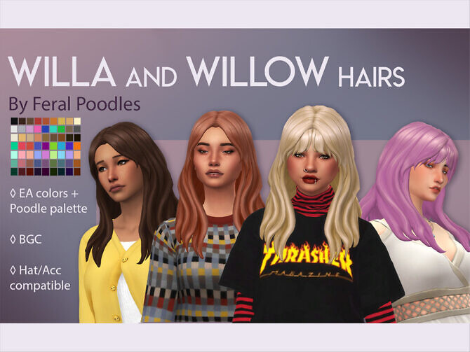Sims 4 Willa Long and flowy hair by feralpoodles at TSR