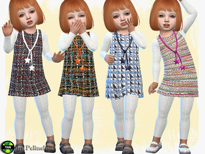 Sims 4 Toddler Boucle Tunic Dress by Pelineldis at TSR