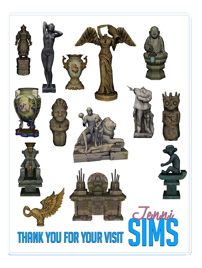 Sims 4 DECORATIVE STATUES 14 ITEMS at Jenni Sims