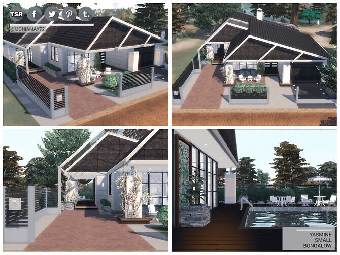 Sims 4 Yasmine Small Bungalow by Moniamay72 at TSR