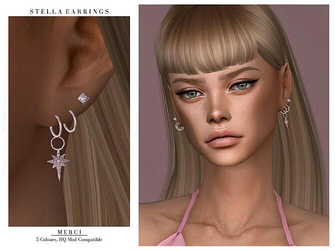 Sims 4 Stella Earrings by Merci at TSR
