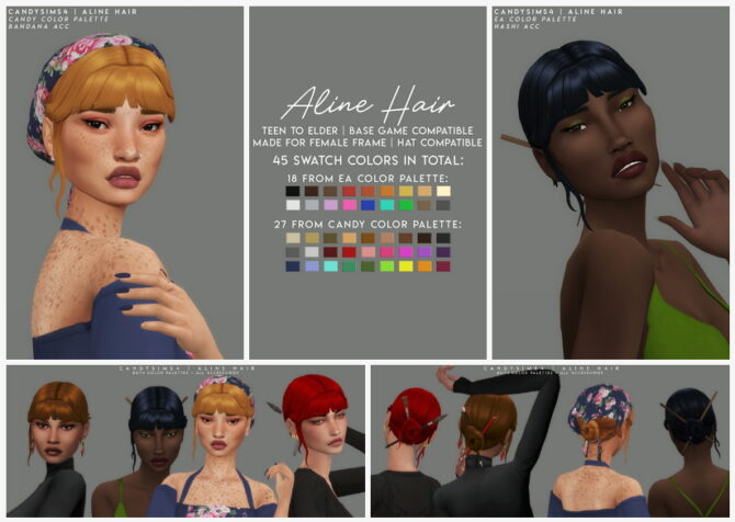 Sims 4 Aline hair + acc at Candy Sims 4