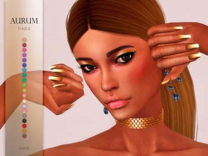 Aurum Nails Sims 4 CC by Suzue