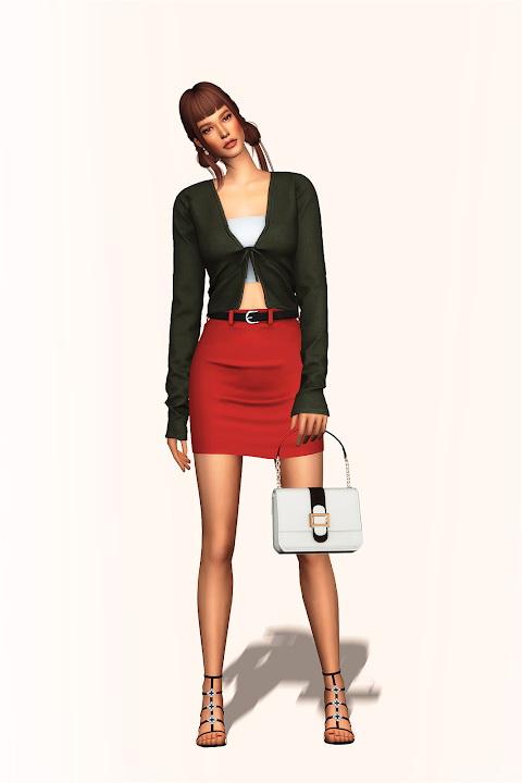Sims 4 Basic Belted Skirt at Gorilla