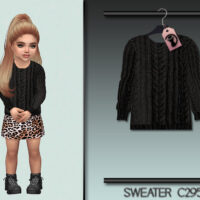 Black Knitted Sims 4 Sweater For Little Girls