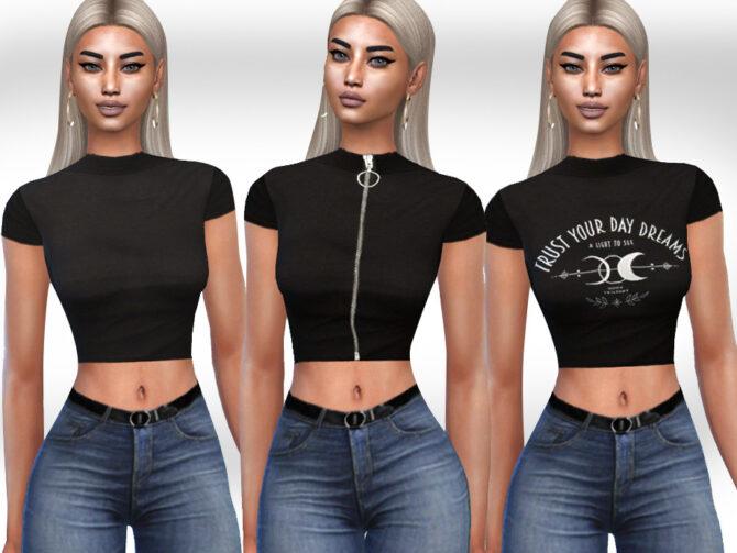 Sims 4 Black Style Tops by Saliwa at TSR