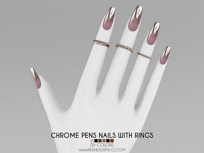 Sims 4 CHROME PENS NAILS WITH RINGS at REDHEADSIMS