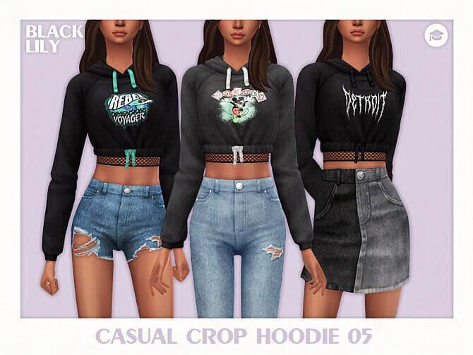 Casual Crop Hoodie Sims 4
