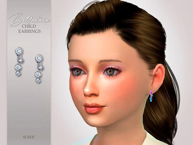 Sims 4 Bellatrix Child Earrings by Suzue at TSR