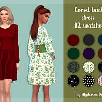 Corset back Sims 4 dress by MysteriousOo
