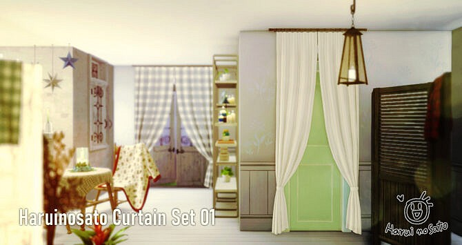 Sims 4 Curtain Set 01 at Haruinosato's CC