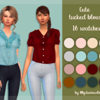 Cute tucked blouse for Sims 4