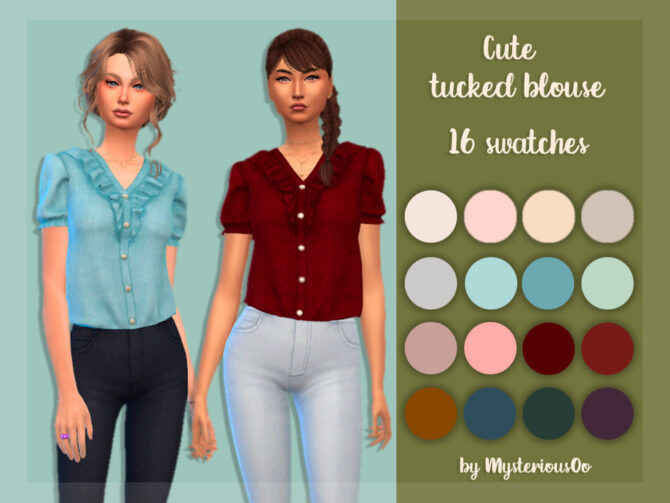 Sims 4 Cute tucked blouse by MysteriousOo at TSR