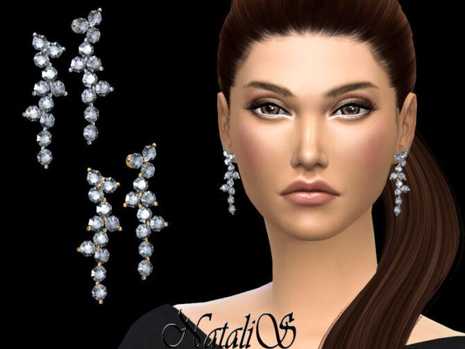Diamond cluster drop Sims 4 earrings by NataliS