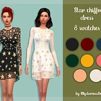 Dress Sims 4 Star Chiffon By Mysteriousoo