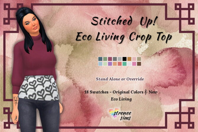 Sims 4 Stitched Up! Eco Living Crop Top at Strenee Sims