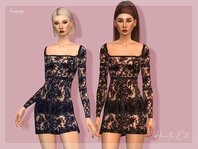 Sims 4 Embellished Dress DR388 by laupipi at TSR