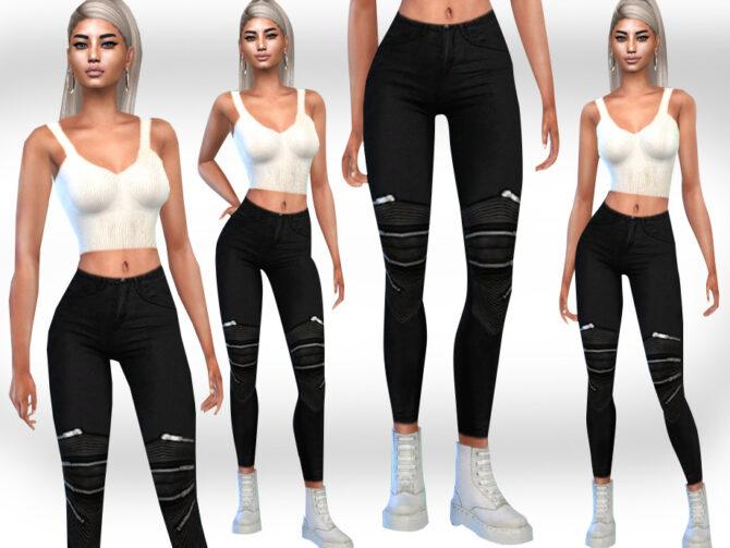 Sims 4 Female Black Zipper Jeans by Saliwa at TSR