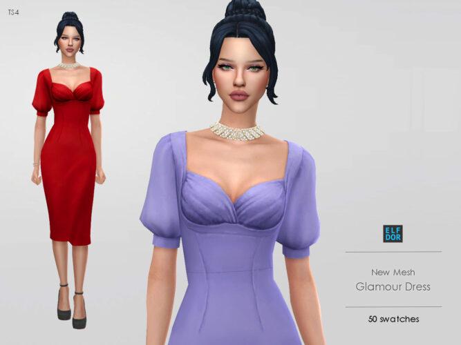 Glamour Sims 4 Dress