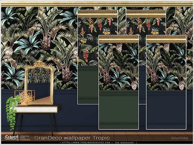 GranDeco Tropic wallpaper by Severinka Sims 4