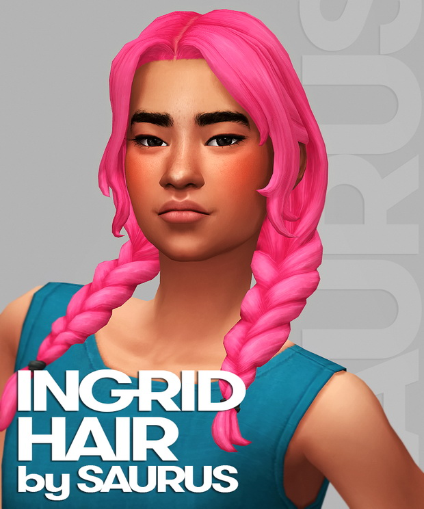 Sims 4 Ingrid Hair at Saurus Sims