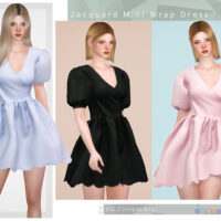 Jacquard Mini Wrap Dress Sims 4 CC