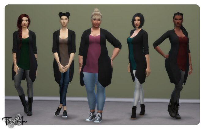 Jeans and Cardigan EA recolor Sims 4