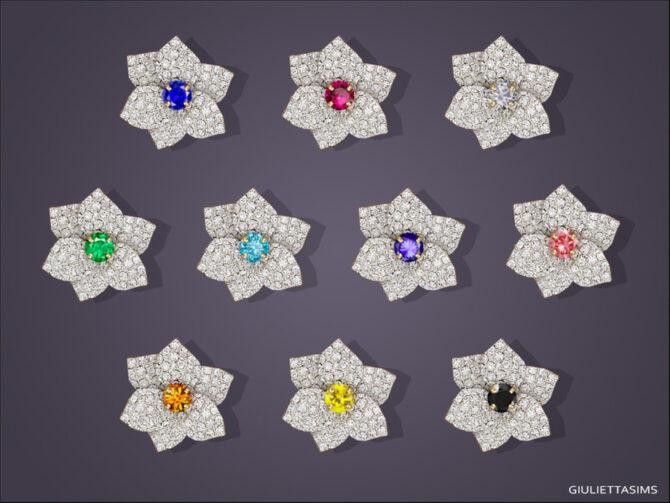 Sims 4 Mia Flower Stud Earrings by feyona at TSR