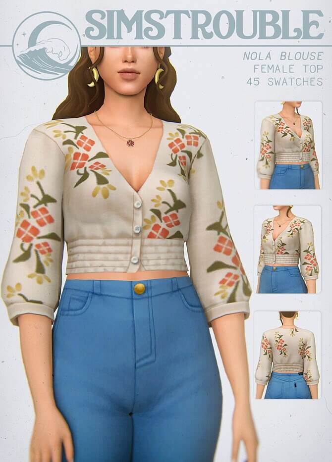 Sims 4 NOLA BLOUSE at SimsTrouble