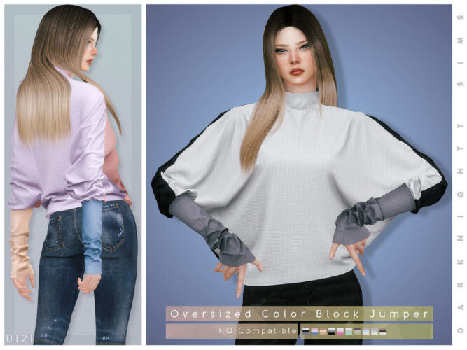 Oversized Color Block Sims 4 Jumper