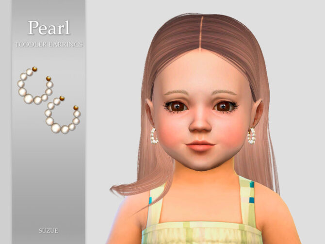 Sims 4 Pearl Toddler Earrings by Suzue at TSR