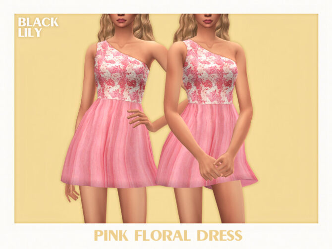 Pink Floral Dress by Black Lily Sims 4 CC