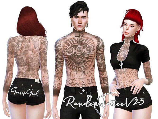 Random Tattoo Sims 4 V25 By Gossipgirl S4