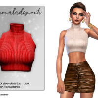 Red Turtleneck Sleeveless Sims 4 Top
