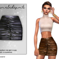 Ruched Leather Mini Sims 4 Skirt