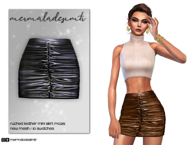 Sims 4 Ruched Leather Mini Skirt MC125 by mermaladesimtr at TSR