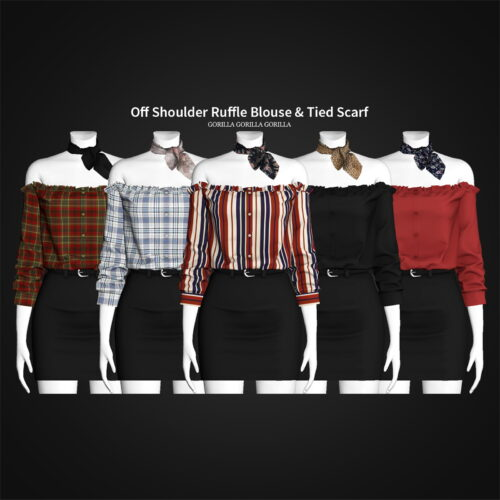 Sims 4 Blouse Tied Scarf