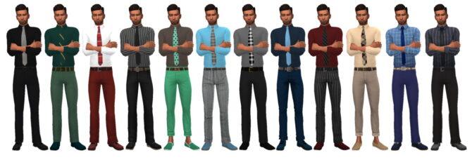 Sims 4 TUCKED SHIRT & TIE (M) BG at Sims4Sue