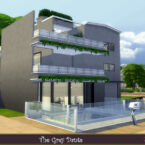 The grey dante Sims 4 house by evi