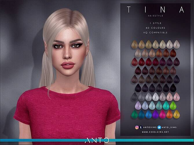 Sims 4 Tina tails with falling strand hairstyle by Anto at TSR