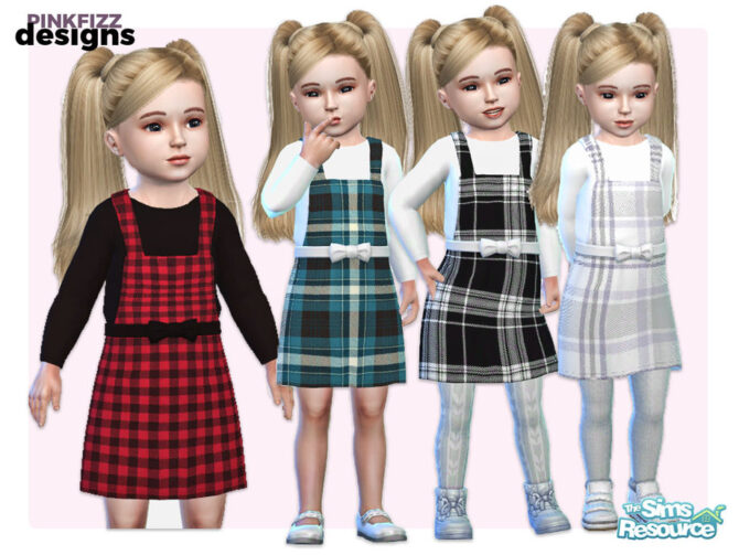 Sims 4 Toddler Tartan Pinafore outfit by Pinkfizzzzz at TSR
