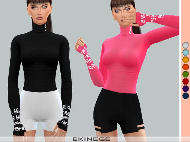 Turtleneck Top by ekinege Sims 4 CC