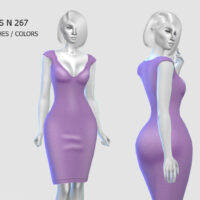 V neck fitted purple dress Sims 4