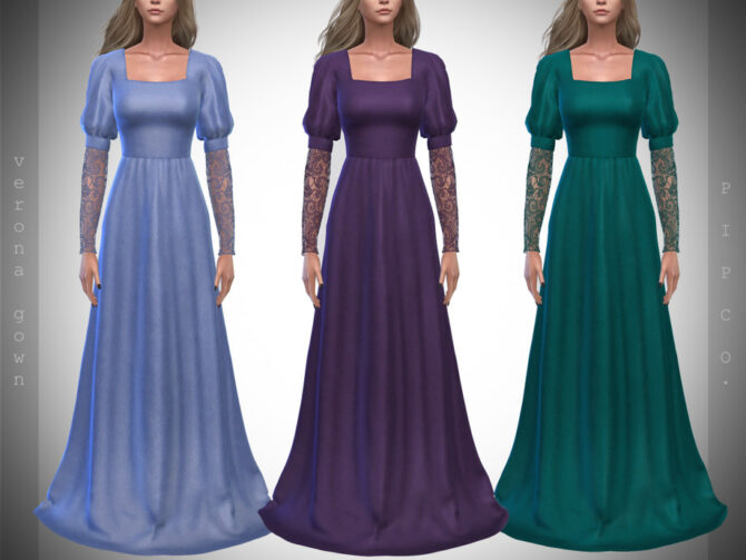 Sims 4 Verona Gown by Pipco at TSR