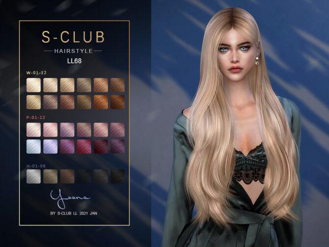 Yana Long Blonde Straight Hair for Sims 4