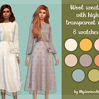 Wool Sweater With High Transparent Skirt By Mysteriousoo